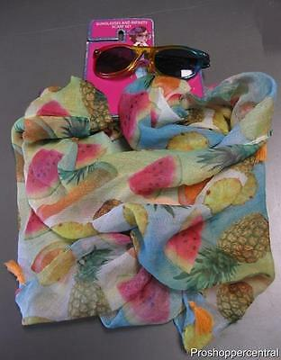 Sunglasses and Infinity Scarf Set-Summer Fruit Print with Multi-Colored Sunglass