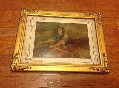 Antique Victorian Gilt Picture Frame With Grace Darling Print By Thomas Brooks