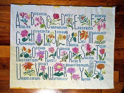Antique Floral & Alphabet-Cross Stitched Sampler