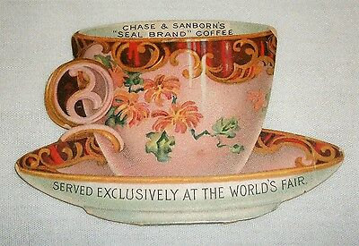 Vintage Folding Victorian Trade Card Chase & Sanborn's Tea Coffee Cup