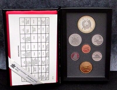 1988 Royal Canadian Mint Proof Set-7 Coins in Mint Condition With Hard Case Box