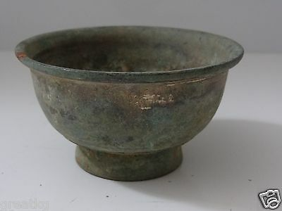 Antique Mongolian Buddhist Large Brass Offering Bowl