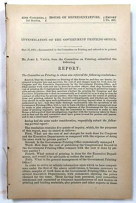 1876 GOVERNMENT PRINTING OFFICE Gov. Investigation into Cost & Management