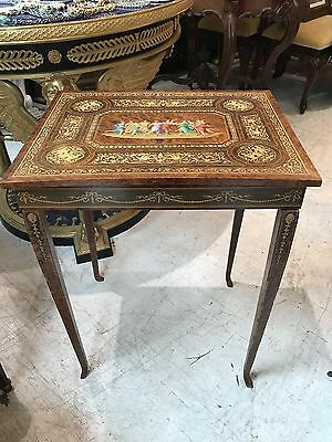 Antique 19THC Italian Intricately Inlaid Lift Top Jewelry Cabinet Specimen Table