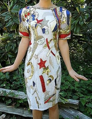Vintage 80s Beaded Sequin Silk Dress Oleg Cassini White Red Blue Gold Silver