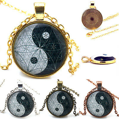 Black white Yin and Yang Chain Necklace Cabochon Glass Dome Pendant Jewelry