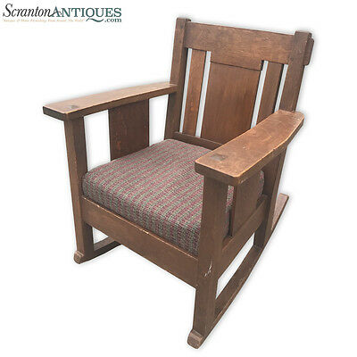 Antique Mission Tiger Oak Arts and Crafts Rocking Chair Stickley Roycroft Era