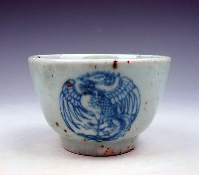 Antique Blue&White Porcelain Dancing Phoenix Peacocks Hand Painted Cup #04111703