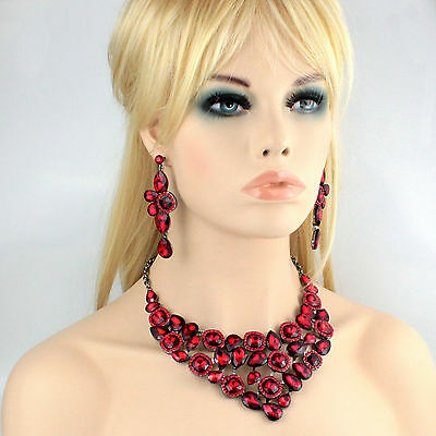 Halo Ruby Red Austrian Cystal Rhinestone Necklace Earrings Set Prom Bridal N915