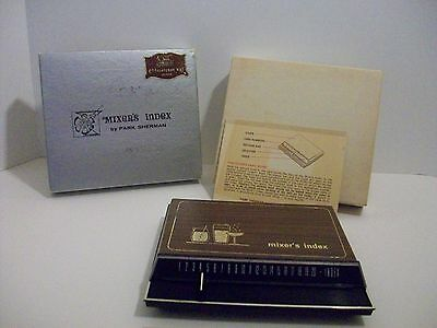 1966 Park Sherman Bartender Index Cocktail Recipes Complete With Box & Mix Guide