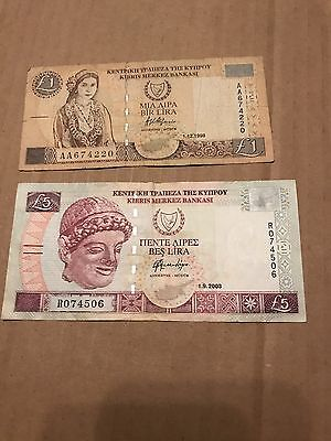2 Bank Notes From Cyprus (1) 5 Pound 2003 (1) 1 Pound 1998