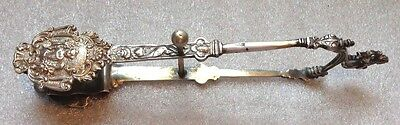 fine antique Dutch sterling silver asparagus tongs