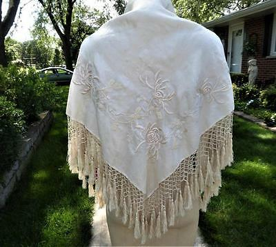 ANTIQUE CREAM ON CREAM SILK EMBROIDERY SHAWL w HAND KNOTTED TASSEL FRINGE