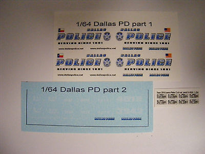 Dallas TX Police 1:64 Water Slide Decals Fits many 1/64 Die Cast Vehicles