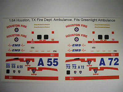 Houston Fire Dept. Ambulance 1:64 Water Slide Decals Fits GL Blank Ambulance