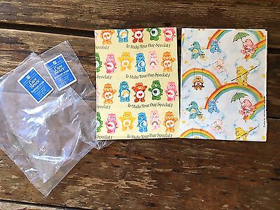 Vtg Care Bears gift wrap wrapping paper 1981 American greetings partial sheets