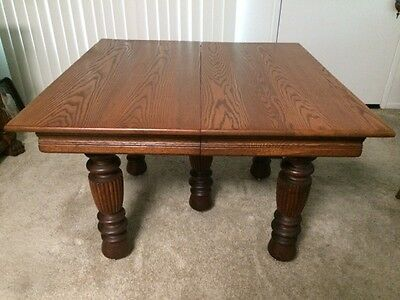 "Antique Tiger Oak 42"" Square Dining Table w/5 Reeded Legs & 2 Inserts"