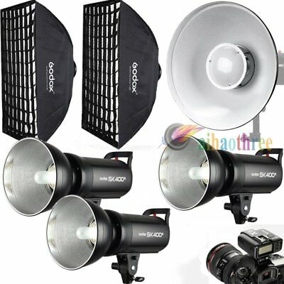 3Pcs Godox SK400II 400W 2.4G Wireless X System Flash Softbox Trigger Dish Kit