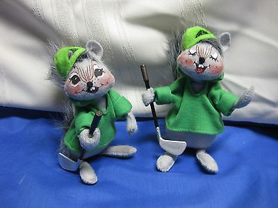 Vintage Lot 2 Annalee Dolls Squirrel with GOLF CLUBS 2008