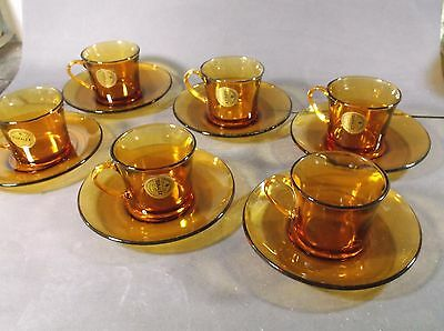 Duralex amber glass cups and saucers