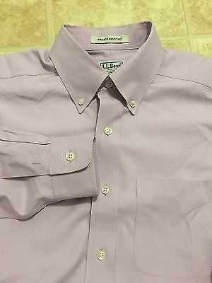 LL BEAN WRINKle Resistant MENS SZ 14.5 X 32  BUTTON DOWN OXFORD DRESS SHIRT