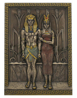 "12.5"" Egyptian Pharaoh Menkaure & Queen Khamerernebty Wall Plaque Egypt Decor"