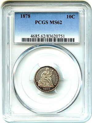 1878 10c PCGS MS62 - Pretty, Colorful Toning - Liberty Seated Dime