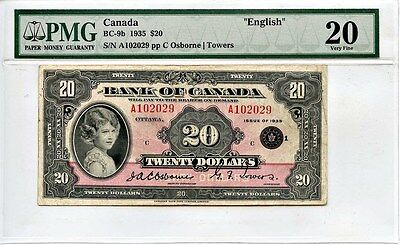 Canada: 1935 Bank of Canada $20 Dollars PMG VF20 (BC-9b, Osborne - Towers)