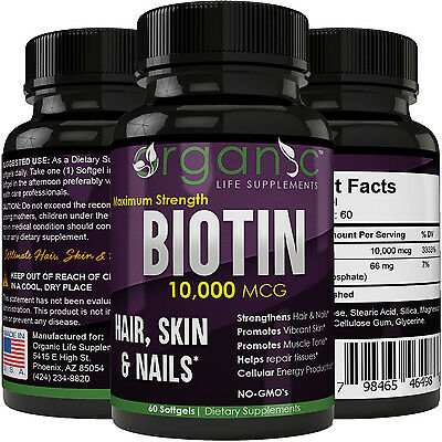 Biotin 10,000 mcg Hair Skin and Nails Growth Supplement - Fast Acting Results!