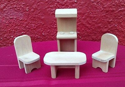 4 Pc Set Doll House Furniture Table Chair Cabinet Wood Miniature Hand Crafted ✞