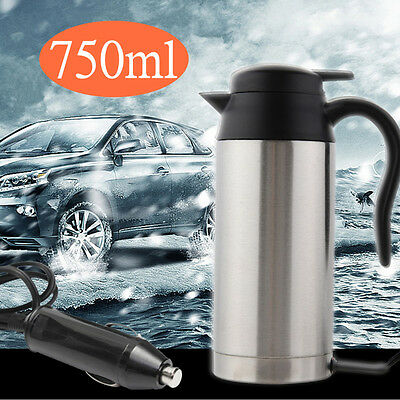 Car Travel Heating Water Bottle 12V 750ml Stainless Steel Electric In-Car Kettle