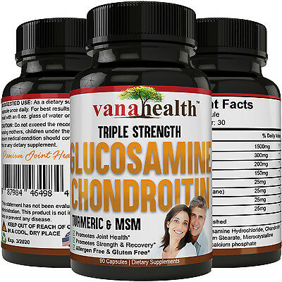 Glucosamine Chondroitin, Turmeric + MSM for Joint Pain Relief & Rebuild NON-GMO