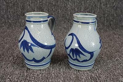"""Vintage Pair Of Hand-Painted Blue Pitchers 5"""""""