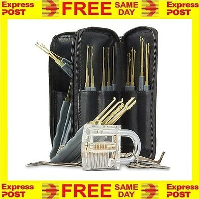 26pcs Practice Lock Pick Kit Padlock Locksmith Lockpick Picking Tool Set EXPRESS