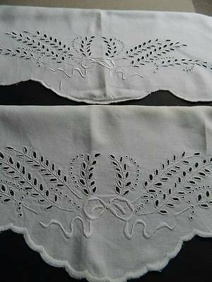 Antique pair white Irish linen pillowcases with hand embroidery & scallop edges