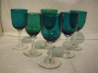 6 (SIX) ANTIQUE VICTORIAN GREEN WINE GLASSES HAND BLOWN c.1870 STUNNING!!