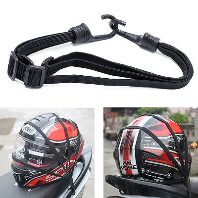 Flexible Motorcycle Retractable Helmet Luggage Elastic Rope Strap With 2 Hooks