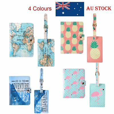 2X Passport Holder Cover Wallet Card + Luggage Tags Address Label Travel Leather