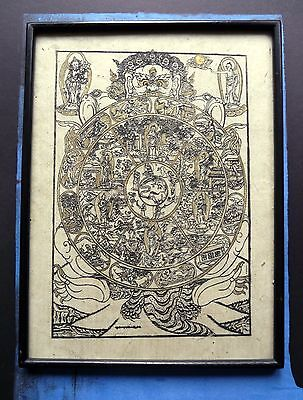 Antique Tibetan woodcut gold on paper- Bhavachakra Wheel of life- Framed. Lovely