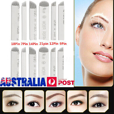 50X Microblading Eyebrow Blades Shading Needles Tattoo Curved Manual Makeup