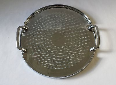Original Vintage Art Deco Round Waldorf Ware Chrome Drinks Serving Tray - Wiles