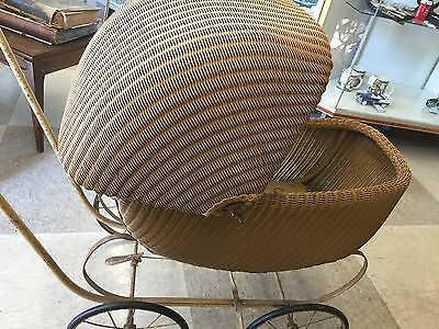 Antique Wicker Rattan Baby Carriage Pram Metal Spoke Wheels Great Condition