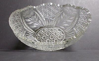 Vintage ABP American Brilliant Cut Glass Oval Compote Dish