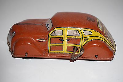 Antique 1930's-1940's J Chein Wind Up Woody Car Working