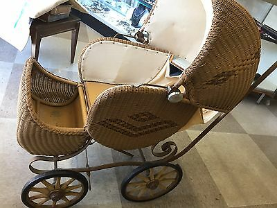 Hartshorn Antique Wicker/ Rattan Baby Carriage Pram w/ Pillow Full Size