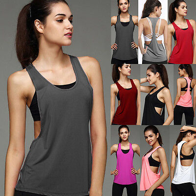 Womens Sports Vest Fitness Exercise Gym Yoga Tank Tops Singlet Loose Tops Shirt