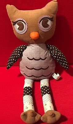 Pottery Barn Kids Owl Stuffed Animal Plush Toy Collectible Beanbag SITS UP Dots
