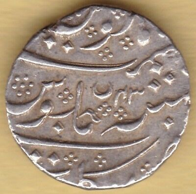 French India Ah1221 Silver One Rupee Arkat Mint #d14