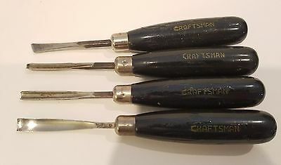 4 Vintage Antique Craftsman Lathe Chisels for Woodworking and Carpentry