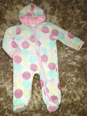 Baby Girls Pretty Fluffy White Pink One Piece Sleepsuit Pyjamas Size 6-9 Months